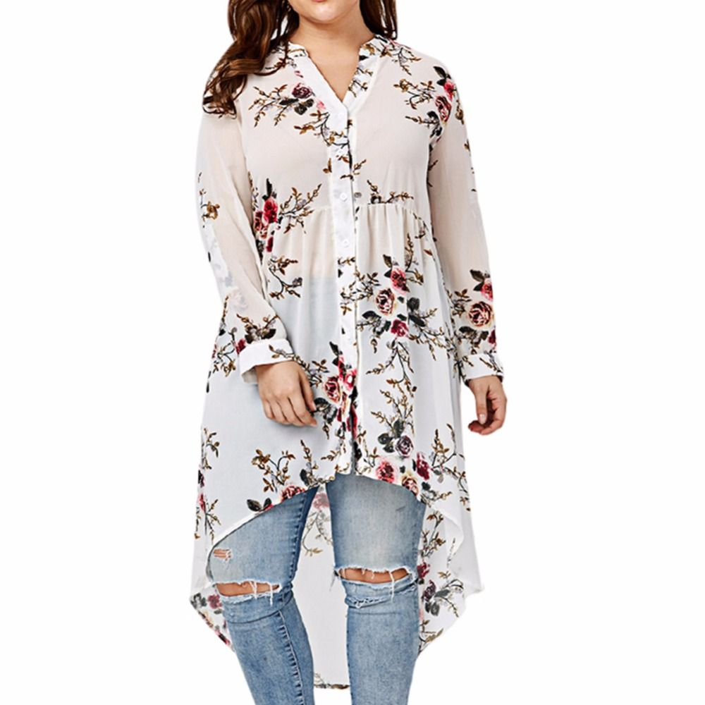 2017 Plus Size Women's Floral Print Blouse stand collar Long Sleeved irregular loose type Shirt single-breasted top Sep13