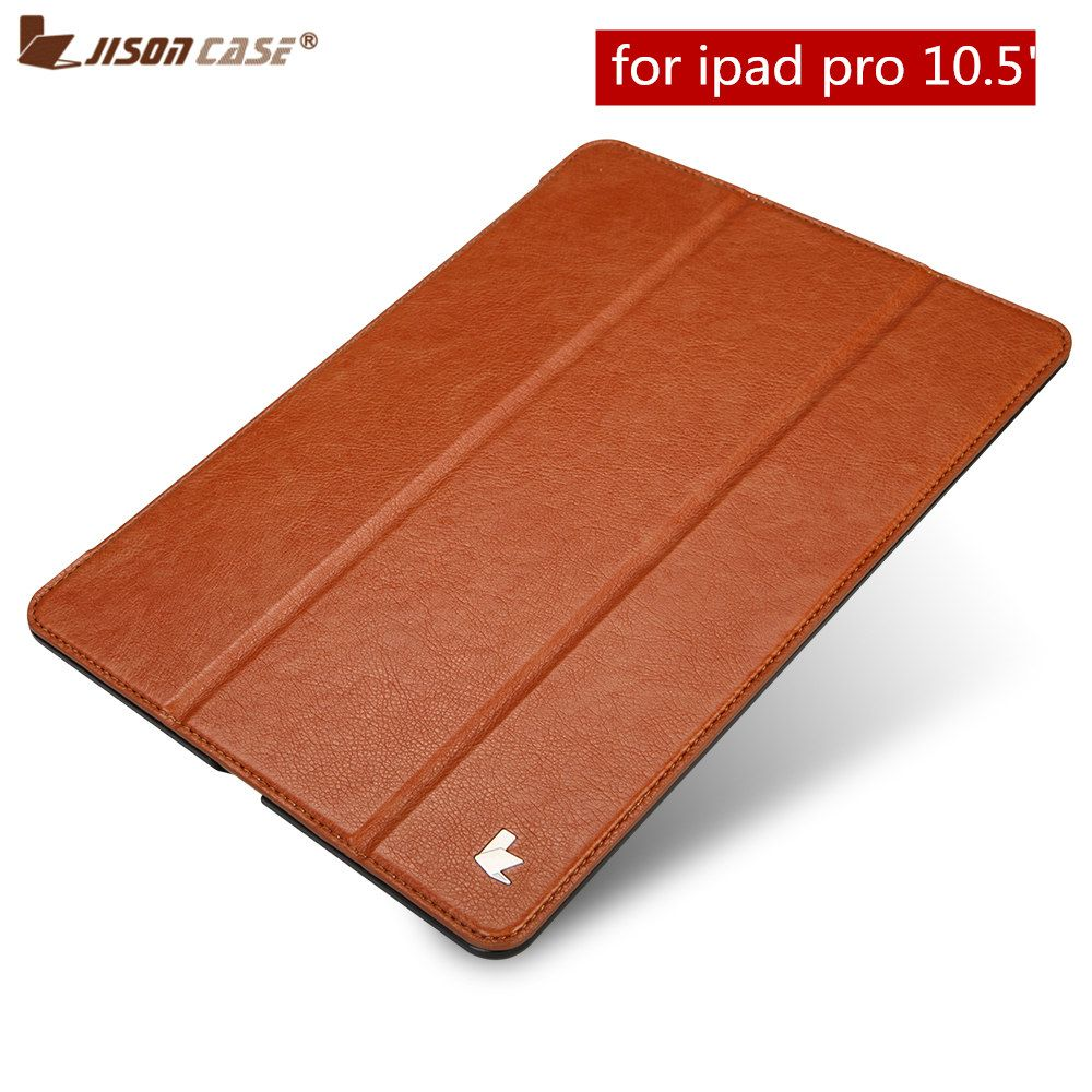 Folio Flip for iPad Pro 10.5 Case Jisoncase PU Vegan Leather Smart Cover Auto Wake Tablet Cases Shell for Apple iPad 10.5 inch