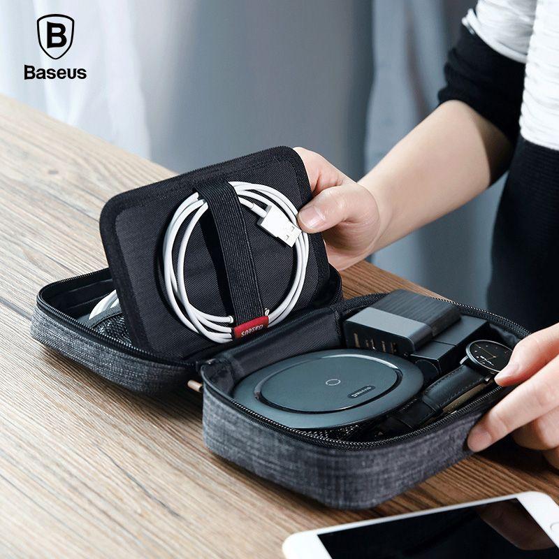 Baseus Téléphone Sac Cas Pour iPhone X 8 7 6 6 s Samsung Étanche Tissu Tissu Cas de Téléphone USB Câble Écouteurs De Stockage De Voyage paquet