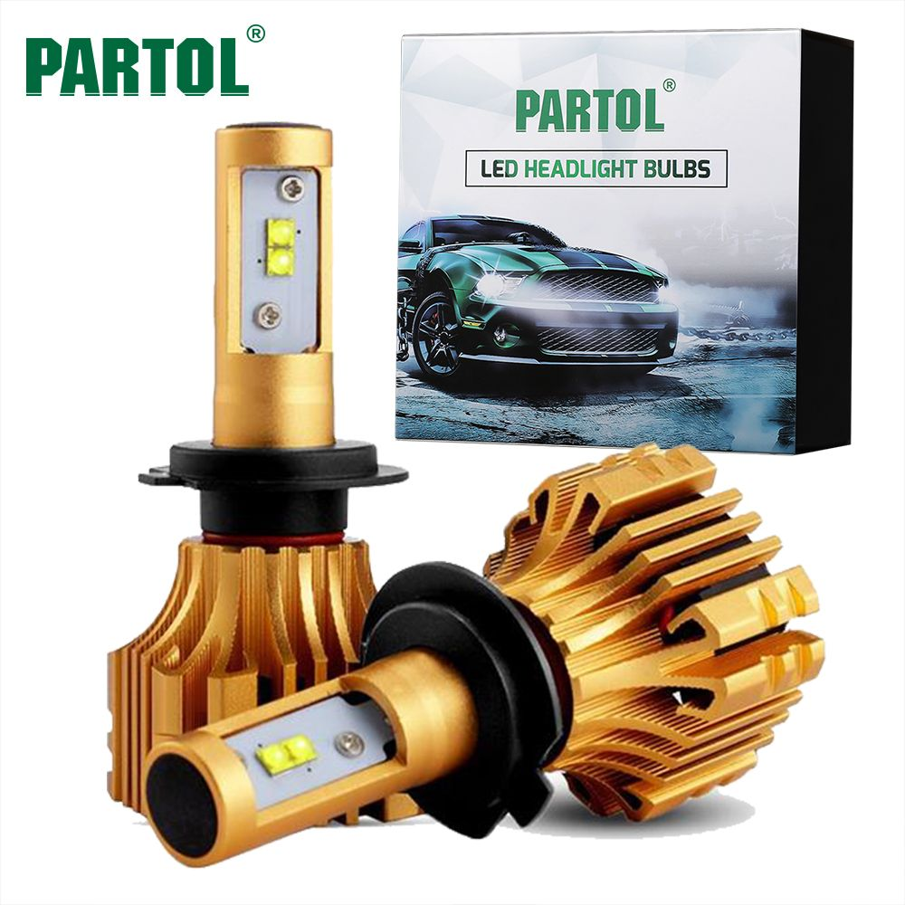 Partol S6 H4 H7 H11 9005 9006 H13 H1 Car LED Headlight Bulbs 70W 7000LM SMD Automobile Headlamp Front Lights <font><b>6500K</b></font> 12V 24V