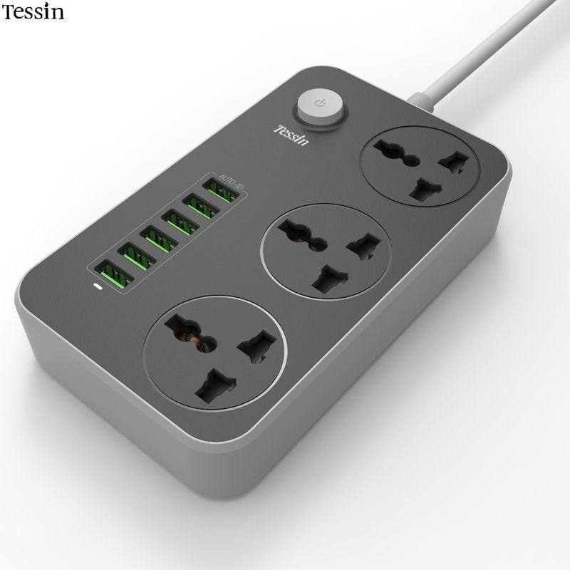 TESSIN 6 Port USB Chargeur 3.4A 3 Outlet Power Strip 2500 W Surge Protéger Pour iPhone iPad Samsung Huawei Nexus Mp3 AC Cordon adaptateur