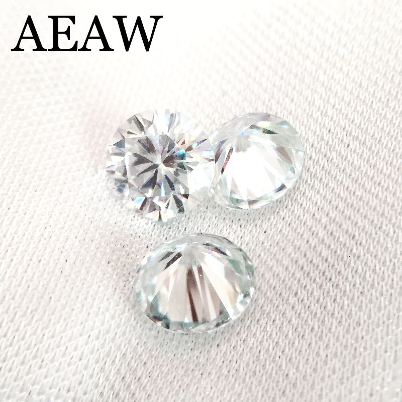 Round Brilliant Cut Moissanite 1 Carat 6.5mm Slight Blue Test Positive Lab Grown Diamond Loose Gems Stones Excellent Cut VVS1