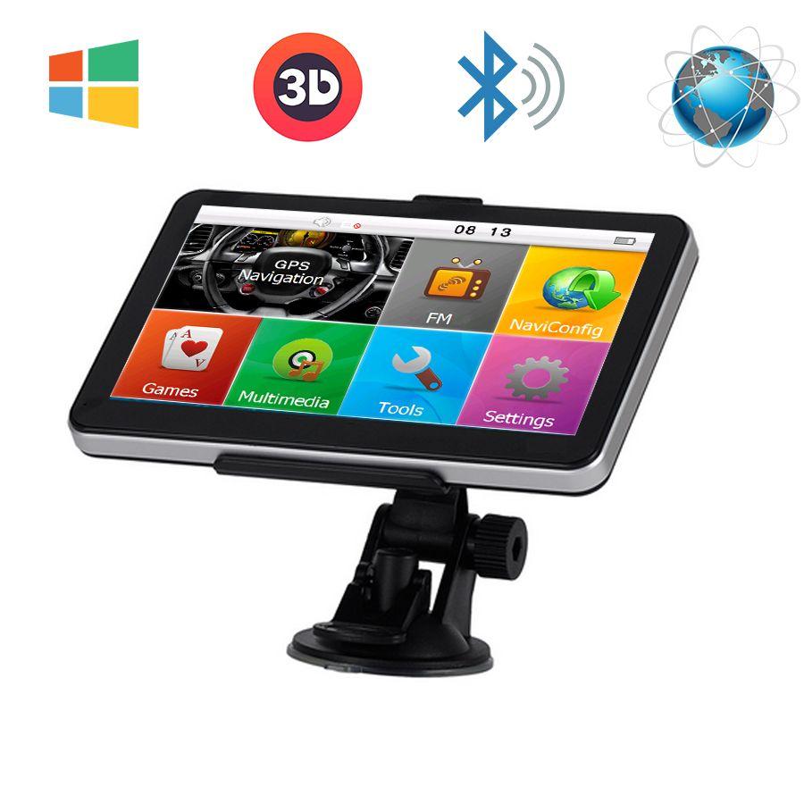 7`` Car Truck GPS Navigation  Windows CE 6.0 FM Bluetooth av-in 8GB/ 800MHZ Navigator Map For Europe/Navitel/USA Lifetime Maps
