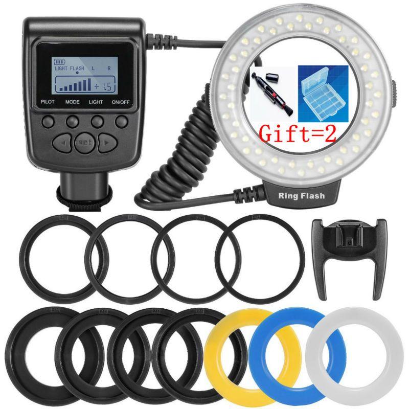 RF-550D 48 pcs Macro LED Anneau Flash Faisceau avec 8 Adaptateur Anneau pour Canon Nikon Pentax Olympus Panasonic DSLR Caméra flash V HD130