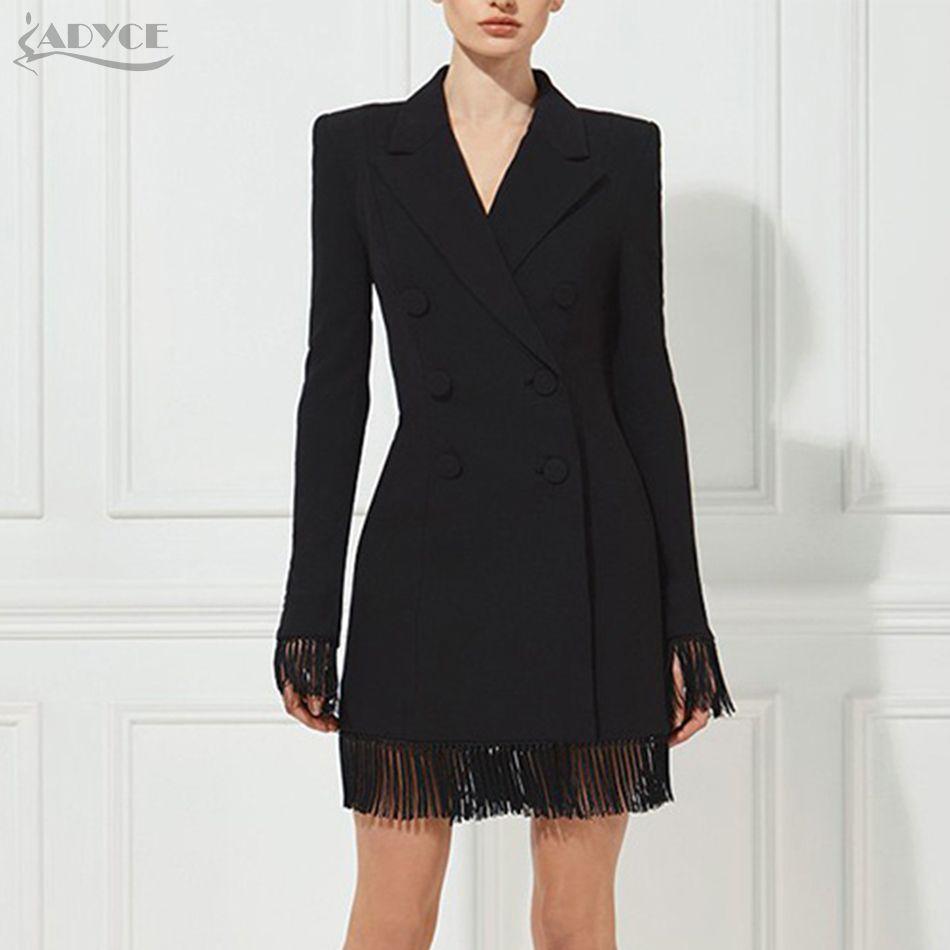 Adyce 2018 New Women Slim Black Jackets V-Neck Double Breasted Long Sleeve Long Style Tassel Fashion Women Out wear Jacket