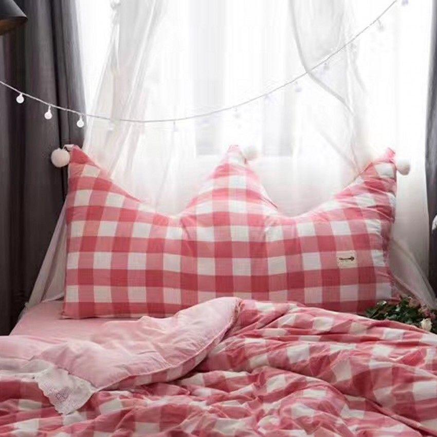 Große größe plaid crown förmigen kissen kissen für mädchen, rosa sitz matte mit kugeln, nacht dekoration kissen mit kern