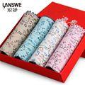 LANSWE 4pcs/lot Bamboo fiber cute women briefs character flower Female Brand sexy underwear Lace lady Lingerie 2017 langsha