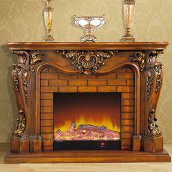 Deluxe conjunto chimenea W165cm estilo europeo de madera más chimenea eléctrica insertar quemador artificial LED llama óptica