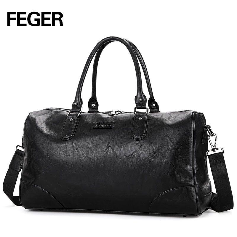 FEGER brand fashion extra large weekend duffel bag large PU business men's travel bag popular design duffle