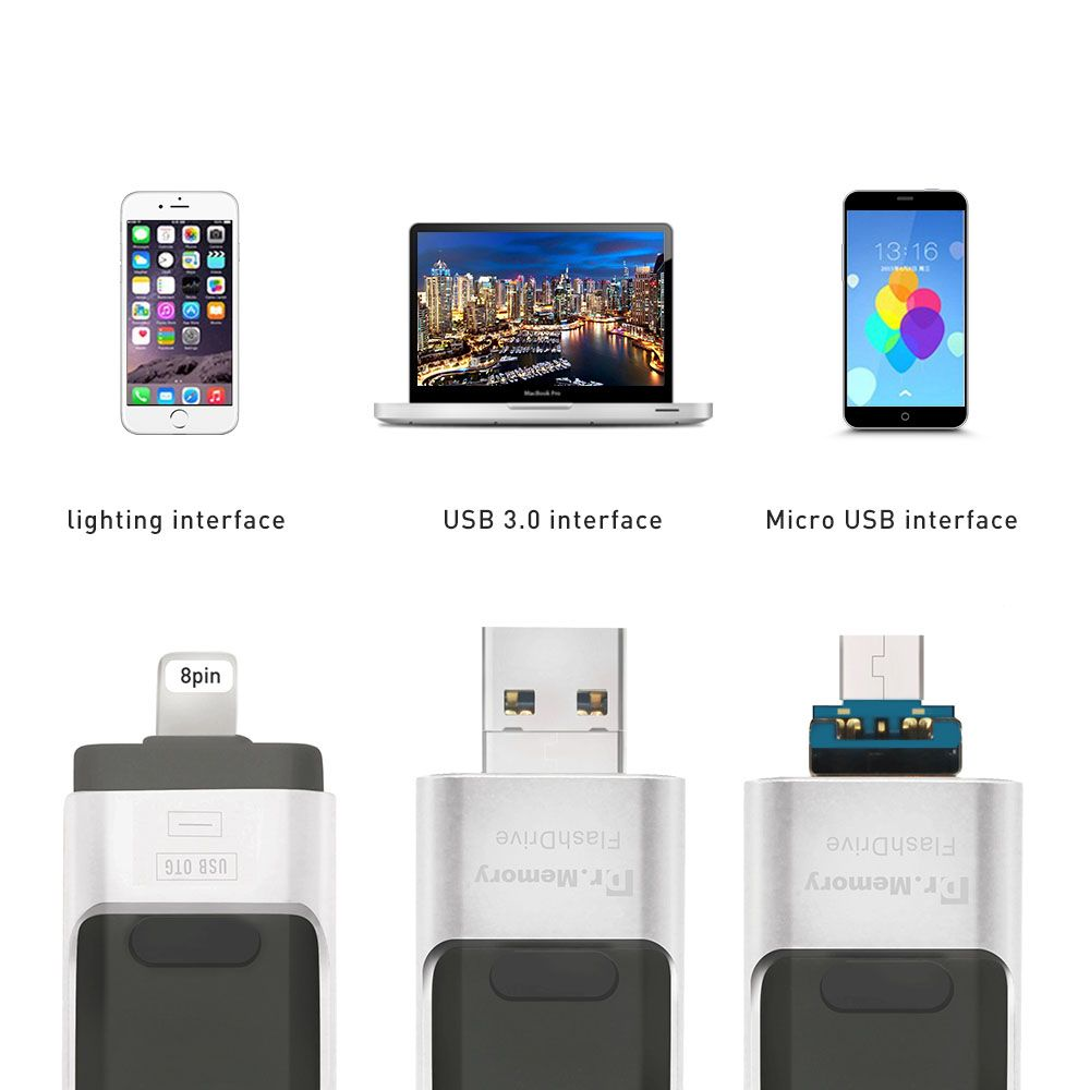 Dr.Memory Metal OTG USB Flash Drive For Apple iPhone 5S SE 6 6S Plus 7 Plus 3 In 1 Pen Drive Metal Pendrive 16G 32G 64G 128GB