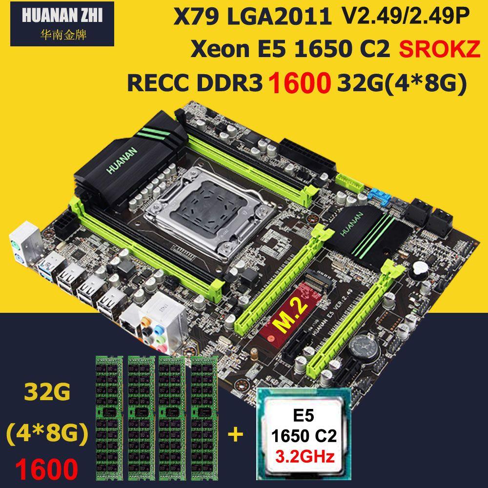 Rabatt motherboard mit M.2 slot HUANAN ZHI neue X79 motherboard mit CPU Intel Xeon E5 1650 3,2 ghz RAM 32g (4*8g) 1600 REG ECC