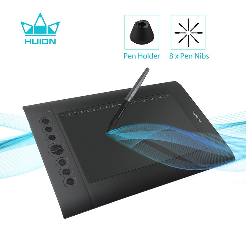 Huion H610 PRO V2 Digital Graphic Tablets Artist Designer Drawing Tablet Tilt Function Battery-Free Pen Tablets for Win and Mac
