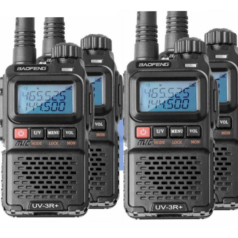 4pcs baofeng uv-3r walkie talkie dual band mini portable 99channel with screen long distance 1500mAh battery VHF UHF ham radio