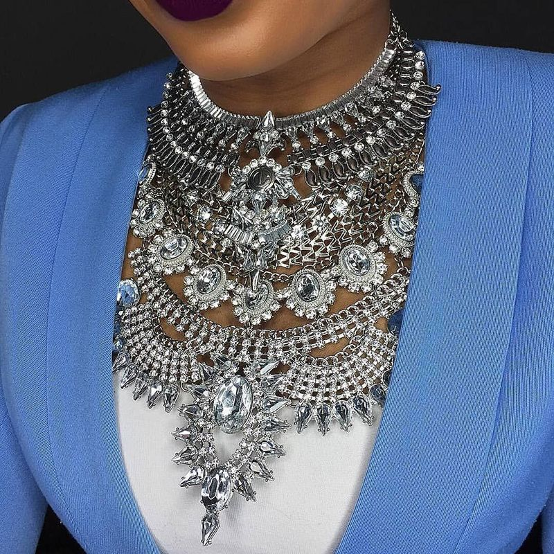 Miwens 2019 Collier Za colliers et pendentifs Vintage cristal Maxi tour de cou déclaration Collier en argent Collier Boho femmes bijoux 7001
