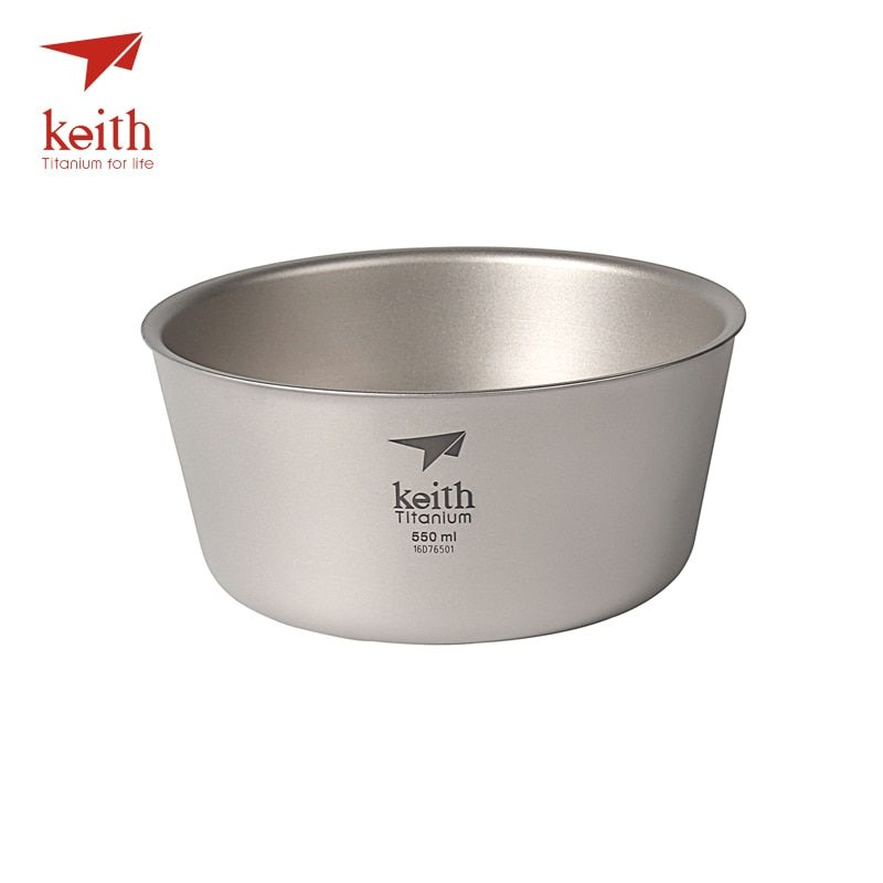 Keith 550ml Titanium Bowl Ultralight Camping Travel Tableware Single Wall And Double Wall Pure Titanium Bowls For Choose