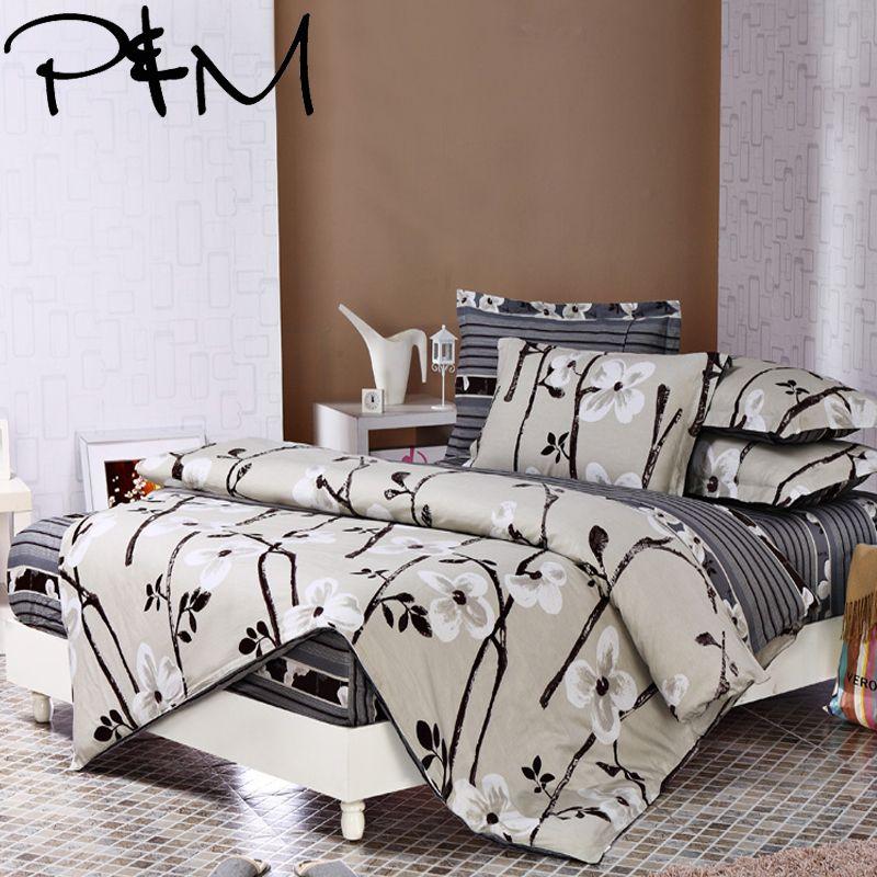 P & M 6 pcs Literie ensembles Taie D'oreiller drap Housse de couette 100% coton roi reine pleine taille double literie draps