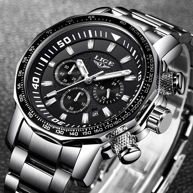 LIGE Mens Watches Big Dial Military Chronograph Top Brand Luxury Fashion Men Waterproof Sport Quartz Wristwatch reloj hombre