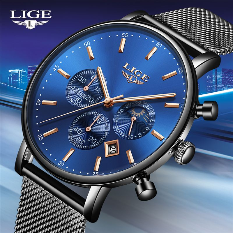 LIGE Mens Watches Top Brand Luxury Waterproof Quartz Clock Ultra Thin Wrist watch High Quality Mesh Belt Momen Watch Reloj Muje