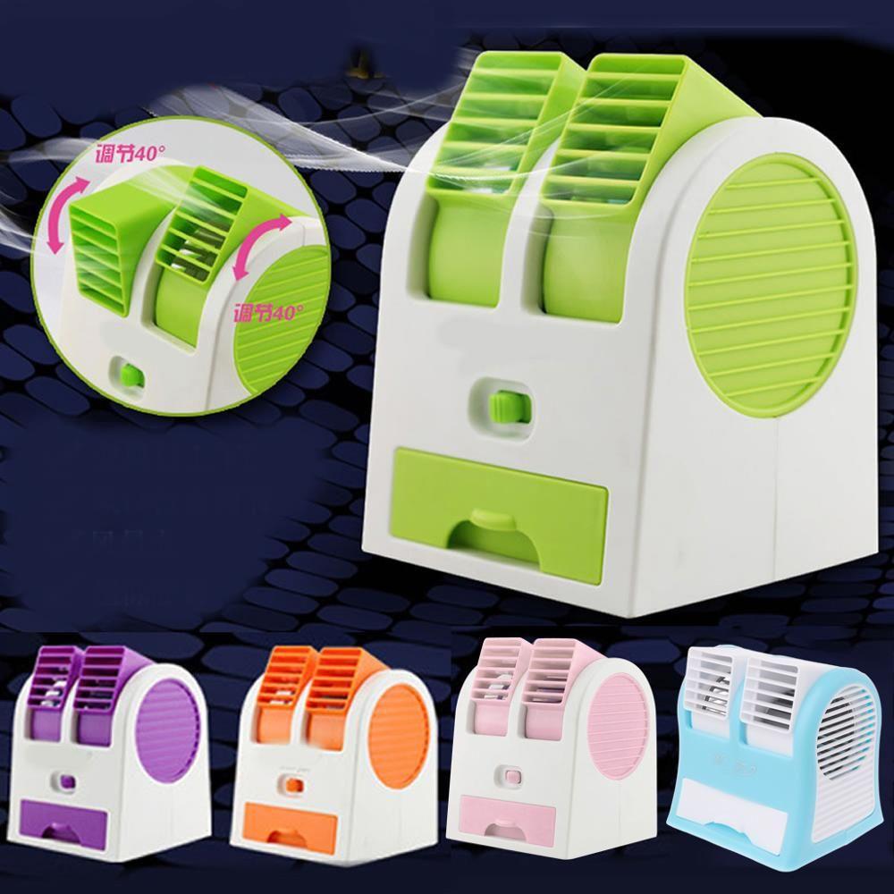 Mini USB petit ventilateur de refroidissement Portable bureau double climatiseur sans lame