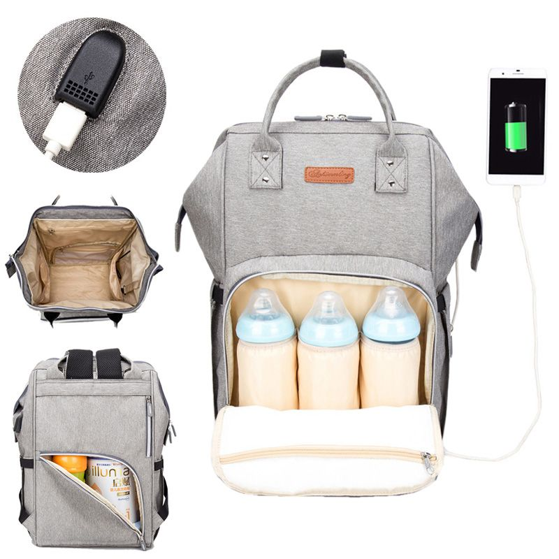 Diaper Bag Backpack USB Interface Nappy Bag Large Capacity Waterproof Mummy Maternity Bag for Stroller Baby Care Product