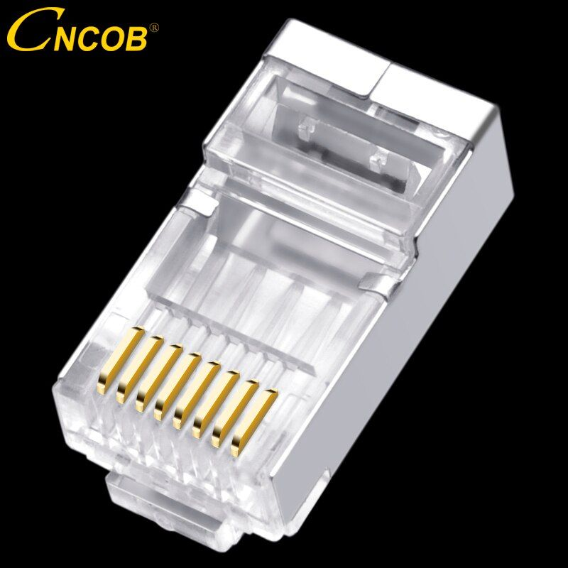 cncob rj45 Cat6 network connector wire diameter 1.3mm, 8p8c ftp Gigabit Ethernet Modular RJ-45 connection crystal head, plug