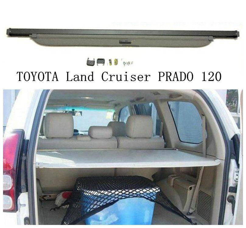 Car Rear Trunk Security Shield Cargo Cover For TOYOTA Land Cruiser PRADO 120 2003 04 05 06 07 08 2009 High Qualit Accessories