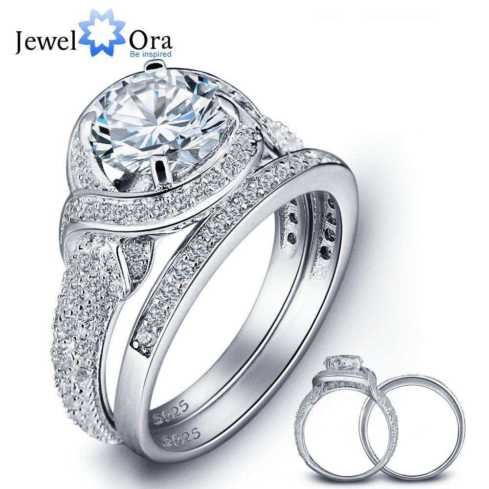 Romantic 925 Sterling Silver Engagement Ring Set Luxurious Women Silver Bridal Ring Sets Wedding Jewelry (JewelOra RI102024)