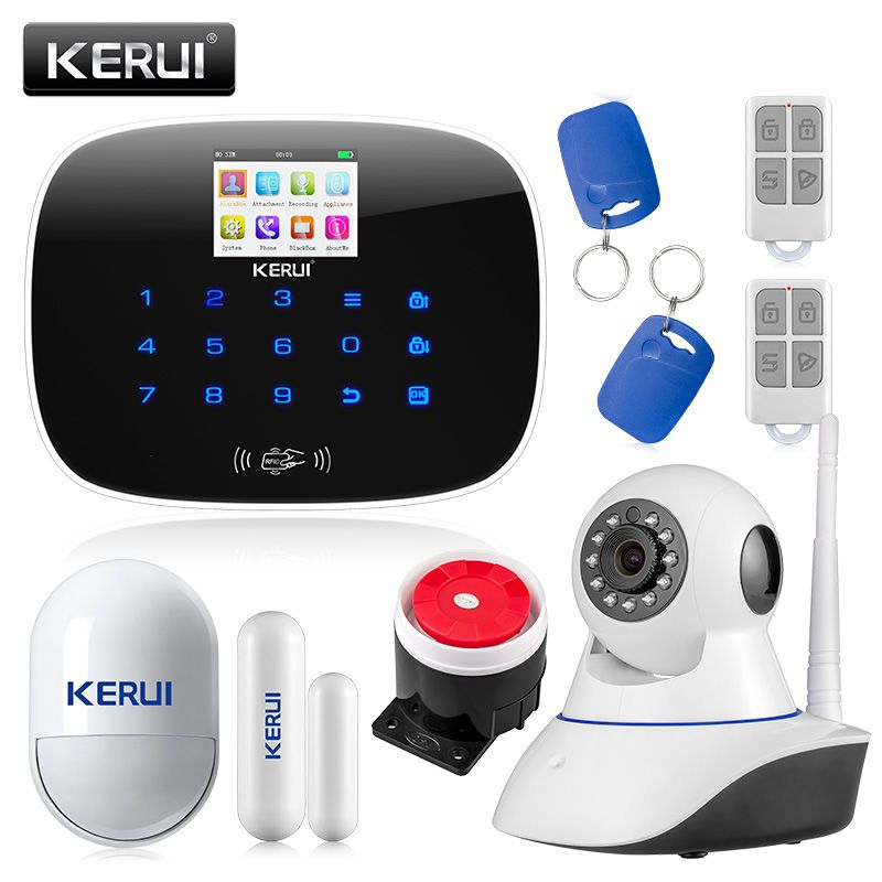 KERUI LCD PIR Sensor GSM Autodial House Office Burglar Intruder Alarm System Support 2G signal Android and IOS APP <font><b>Control</b></font>