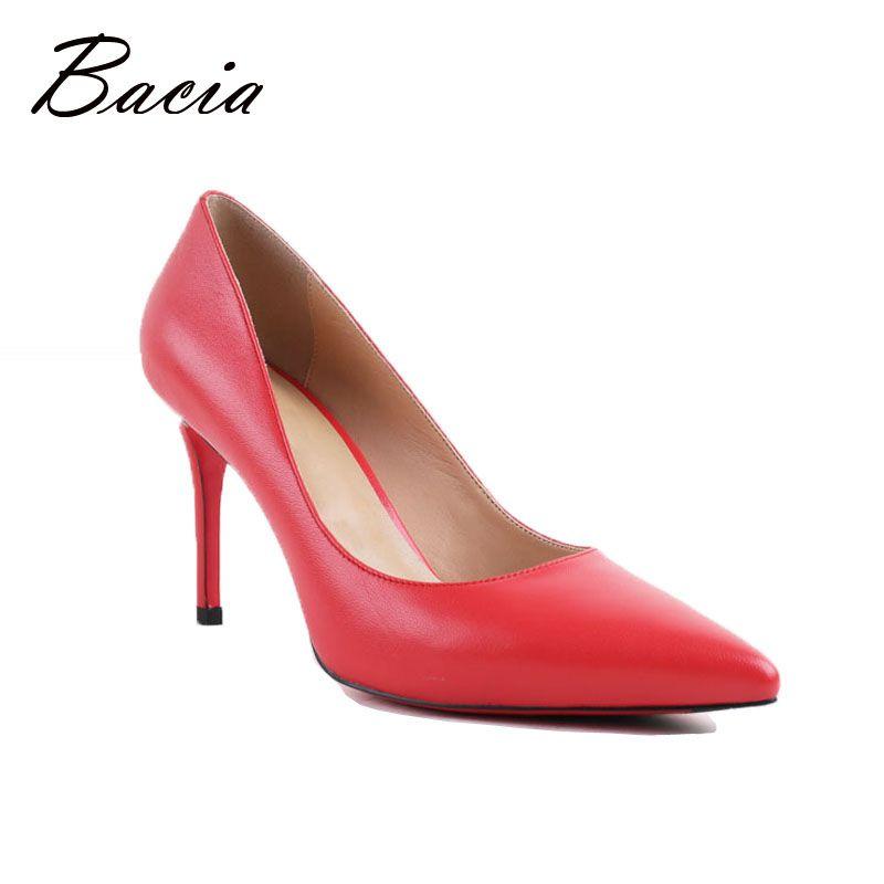 Bacia Women High Heel Shoes Basic <font><b>Model</b></font> Pumps Lady Sexy Pointed Toe Wedding Shoes Pink Red Pumps Handmade Sheepskin Shoes VB034