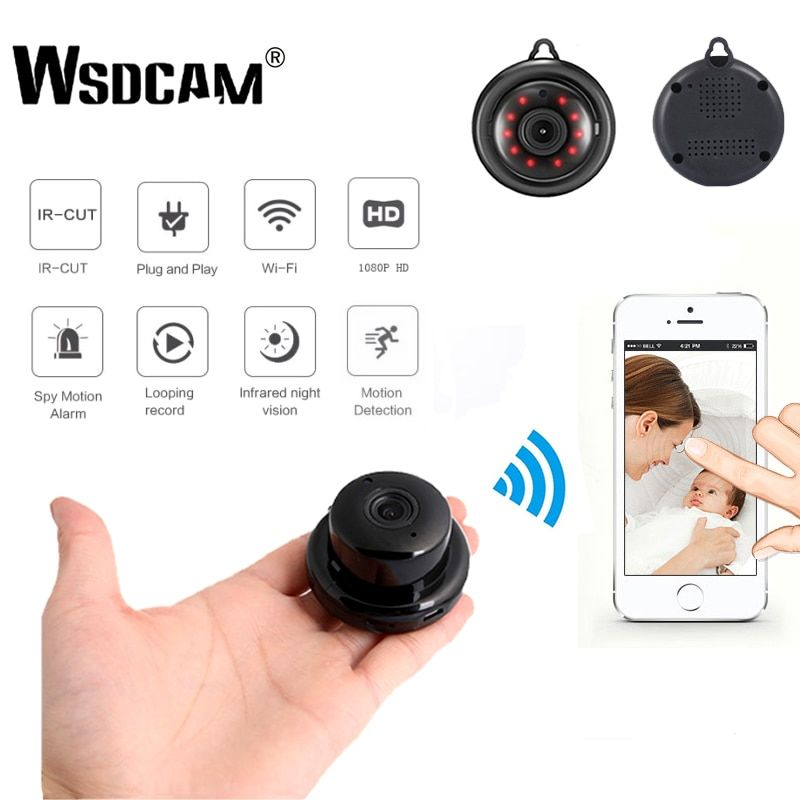 Wsdcam Home Security MINI WIFI 1080P IP Camera Wireless Small CCTV Infrared Night Vision Motion Detection SD Card Slot Audio APP
