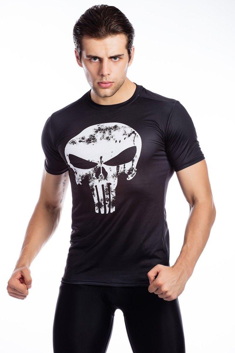 Rote Feder männer Punisher Compression Hemd, Fitness Sport Schädel T-shirt Kurzarm