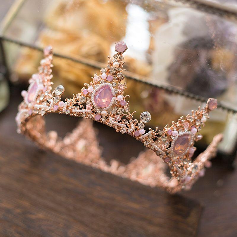 Hand Maß Brautkleid Kristall Krone Mode Frauen Hochzeit Tiaras Haarschmuck Luxus Rosa Strass Haar Crown
