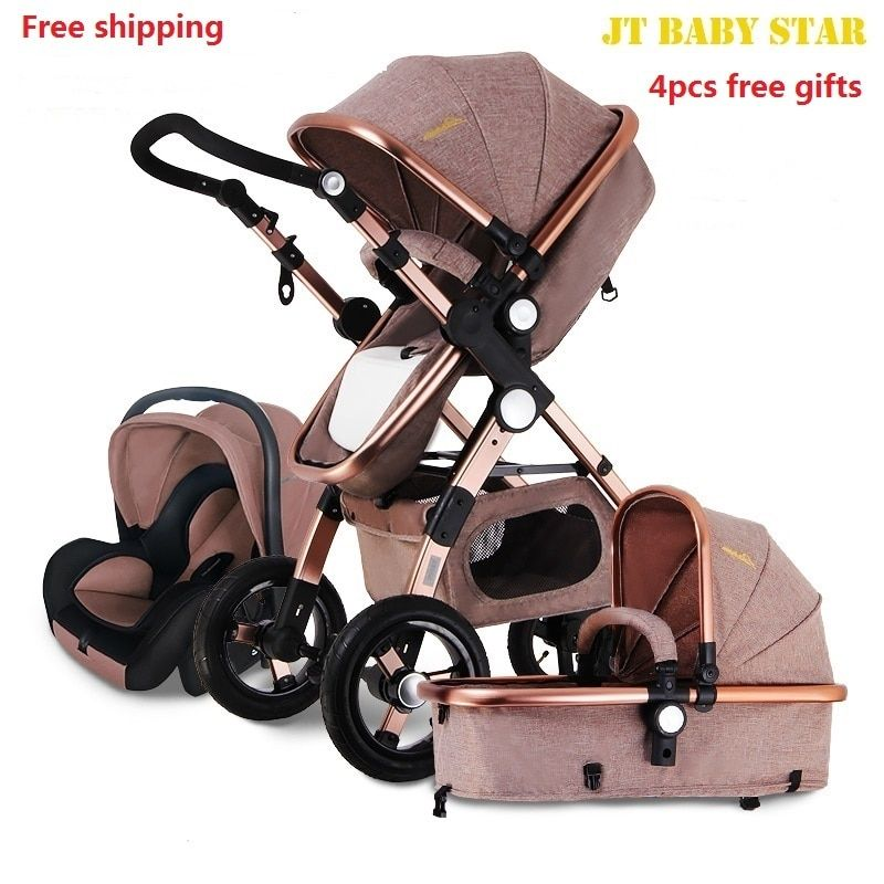 AULON Baby Stroller 3 in 1 With Car Seat High Landscope Folding Baby Carriage For Child From Prams Newborns carrinho de bebe