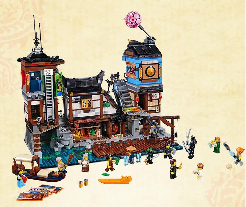 Ninja 06083 3979Pcs Building Series Compatible 70657 Movie City Docks Boat Ship Buidling Blocks Bricks Kit Toys