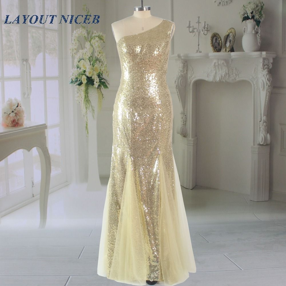 Bling Bling One Shoulder Elegant Gold Mermaid Prom Dress 2017 Sequined Lace vestido de festa Special Occasion Dress