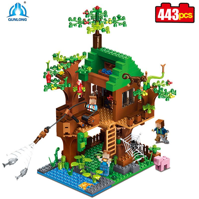 Qunlong 443pcs MY World Building Blocks DIY Forest House Bricks Blocks Enlighten Toys For Kids Compatible Legos Minecraft City