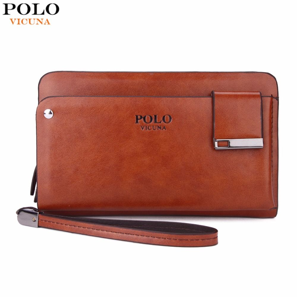 VICUNA POLO New <font><b>Arrival</b></font> High Capacity Leather Men's Clutch Wallet With Rotatable Card Holder Famous Brand Leather Men Wallets