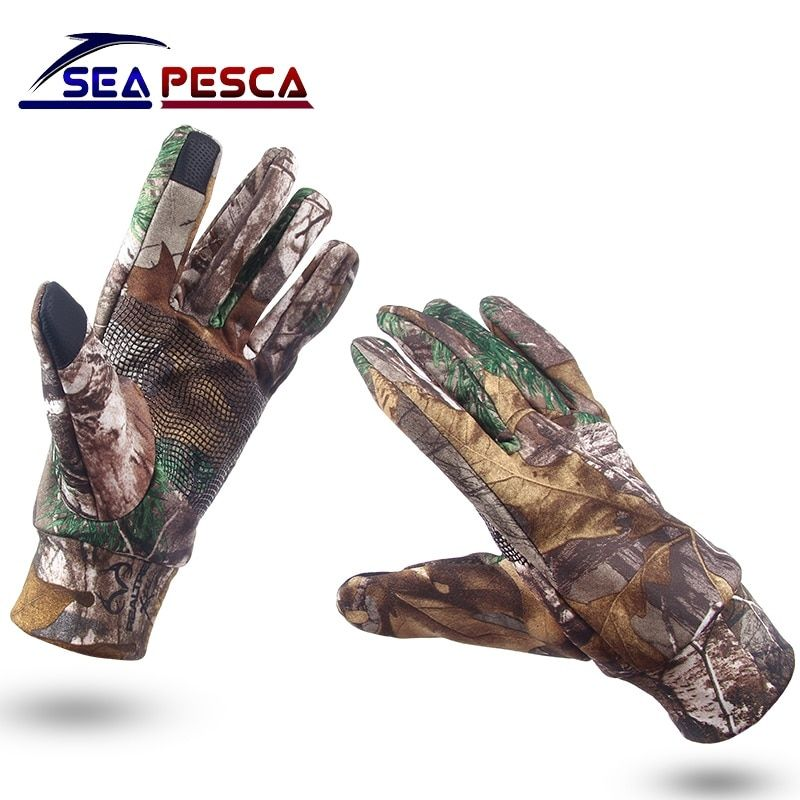 SEAPESCA Fishing Glove Anti-Slip Keep Warm Touch Screen Hunting Camping Cycling Camouflage Outdoor Sport Fishing Equipment JK460