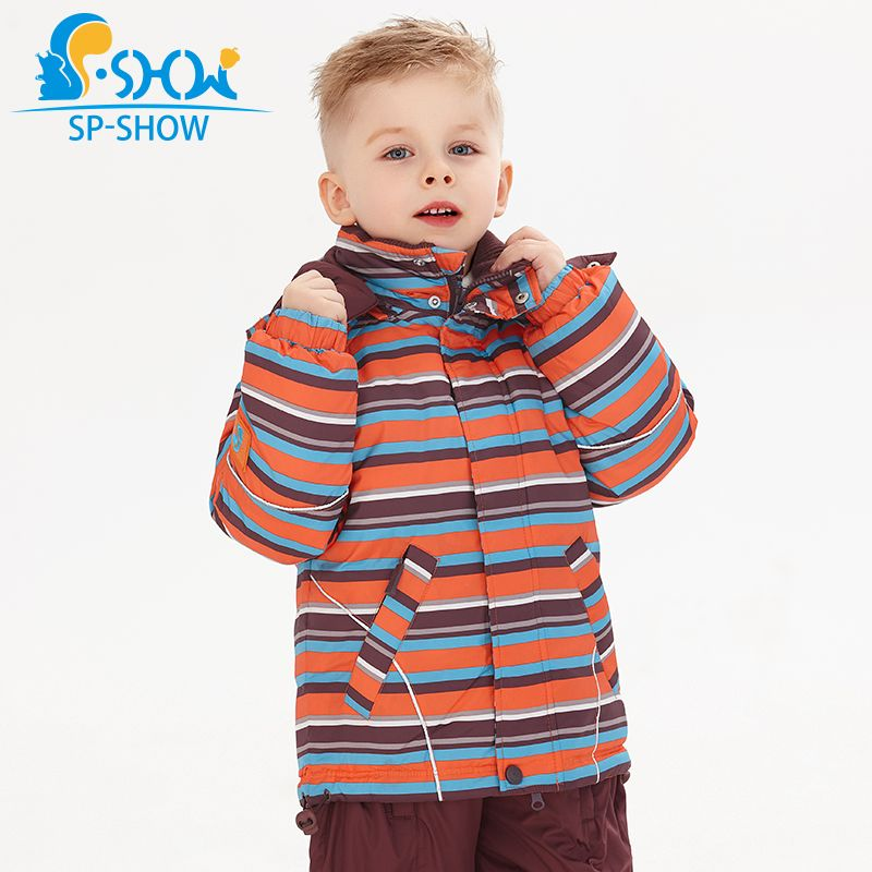 SP-SHOW Winter Children's Outwear Turtleneck striped and printed jackets Kids clothing boys and girls ski jacket suit 009/011