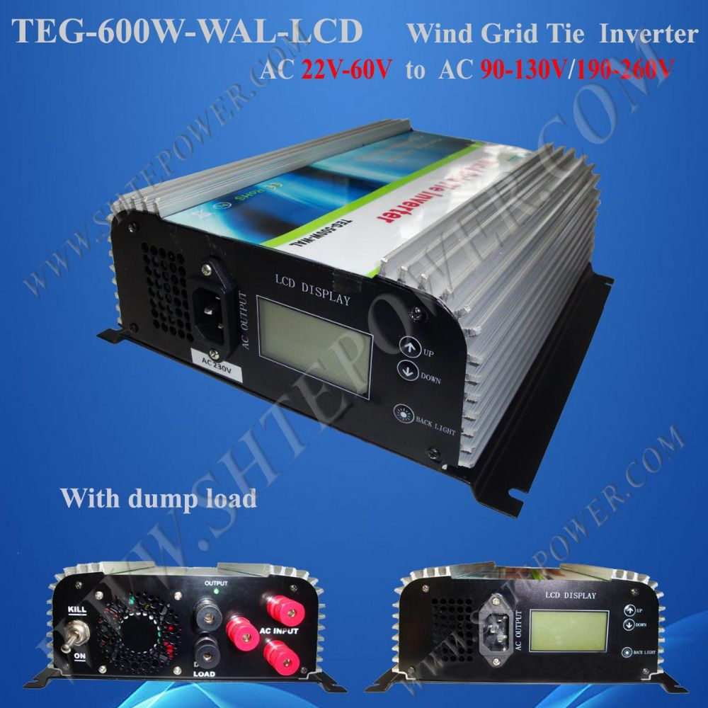 600W wind turbine grid-connected inverter for 24v 48v windmill to ac 220v, 230v, 240v output