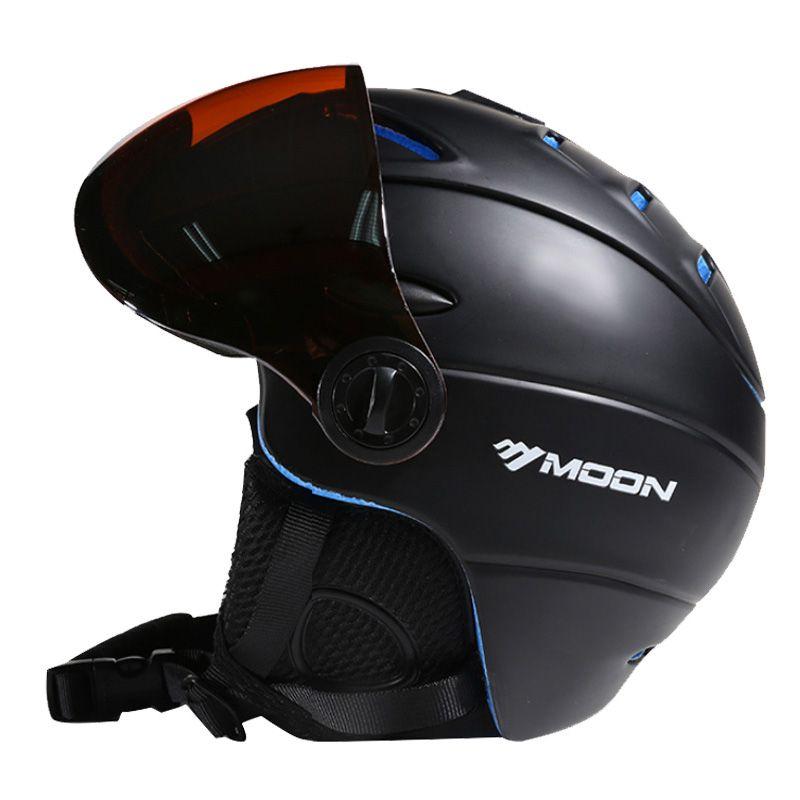 Moon goggles ski helm ce zertifizierung sicherheit skihelm mit brille skating skateboard skifahren snowboardhelm pc + eps