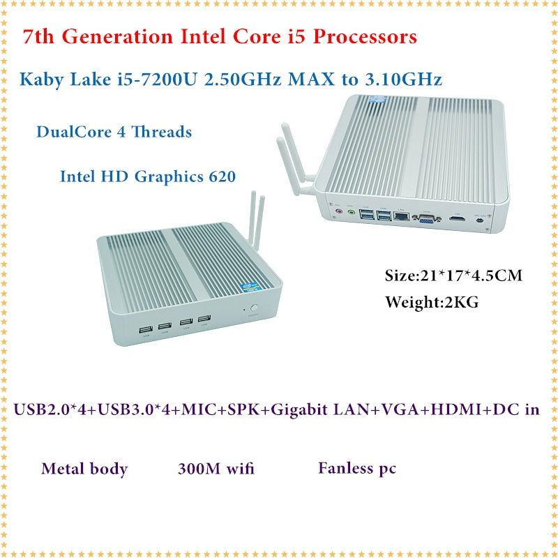 HRF Intel Kaby 7200U Lago Core i5 Mini PC Con Windows HDMI + VGA Mini PC minipc i3 i5 4 K HD HTPC Intel HD Graphics 620 Sin Ventilador PC