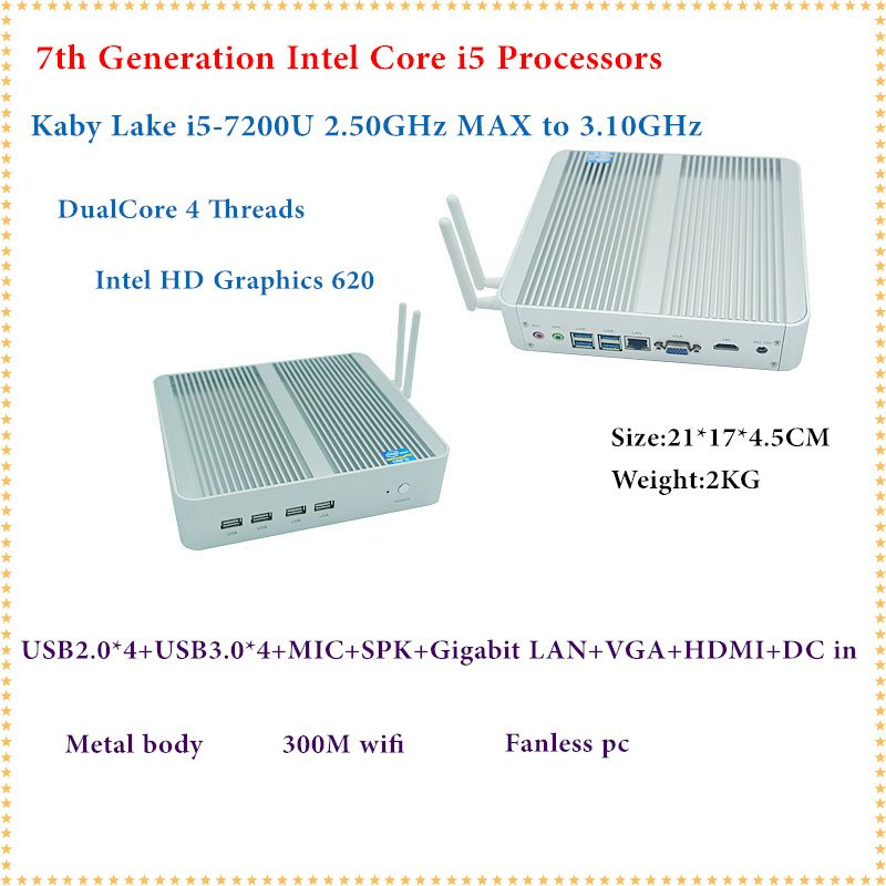 Intel Kaby See Core i5 7200U Mini PC Windows HDMI + VGA Mini PC i3 i5 minipc 4 K HD HTPC Intel HD Graphics 620 Fanless PC