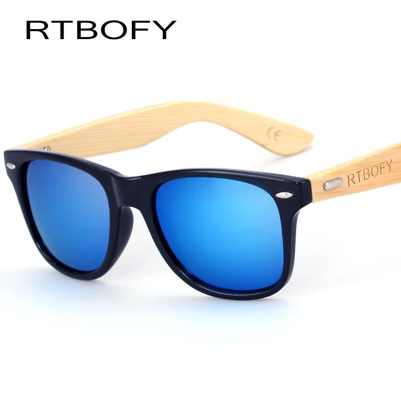 RTBOFY bois lunettes de soleil hommes bambou soleil verre marque Design lunettes or miroir lunettes de soleil nuances lunette lunettes