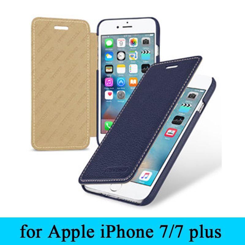 Hohe Qualität Kuh Leder Flip Fall für Apple iPhone7 iPhone 7 100% Bestnote Echtem Leder Abdeckung Haut für iPhone 7 plus + Giftt
