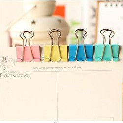 20Pcs Colorful Metal Binder Clips Paper Clip 15mm School Office Learning Supplies Color Random High Quality