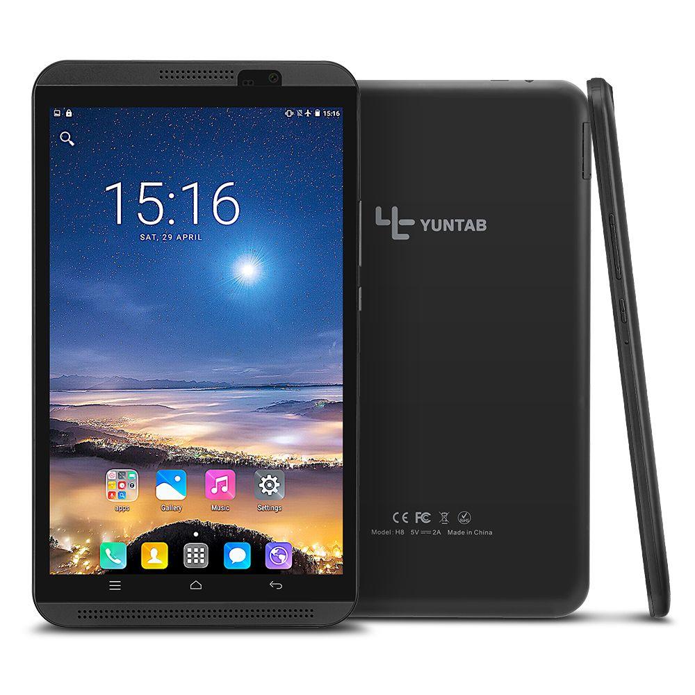 Yuntab 8 pouce H8 Android 6.0 Quad-Core 4g tablette pc phablet soutien téléphone double carte SIM avec double caméra 5000 mah Batterie