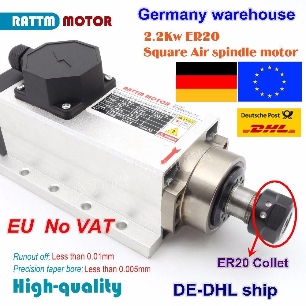 EU kostenloser MEHRWERTSTEUER Platz 2.2kw luftgekühlten spindel motor ER20 runout-off 0,01mm, 220 V, 4 keramik lager, CNC Gravur fräsen schleifen