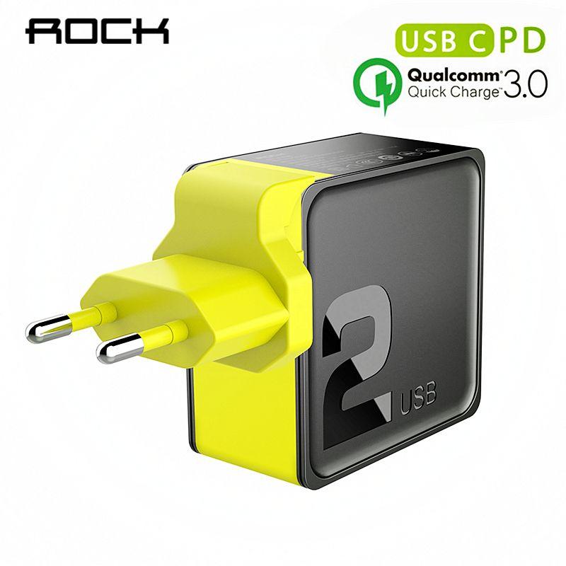 Chargeur double USB ROCK PD QC 3.0 FCP 36 W Charge rapide prise EU US pour iPhone X 8 plus + PD Type C pour allumer le câble de Charge 15 W