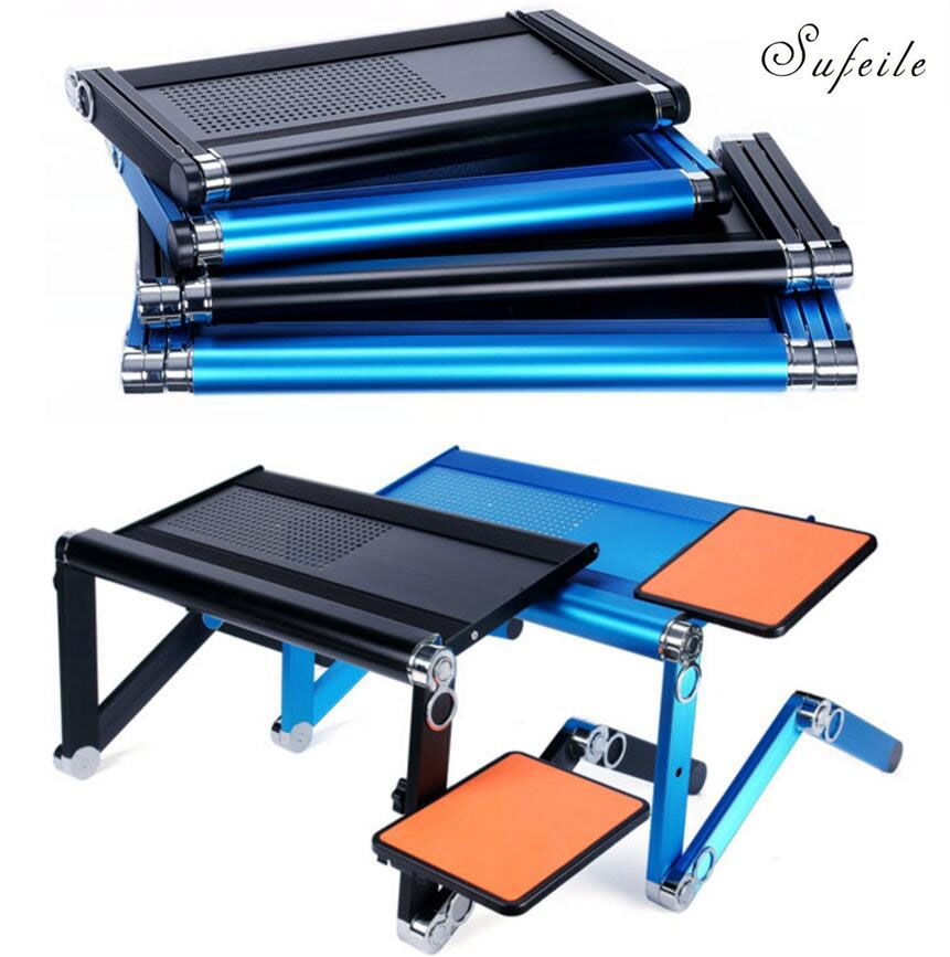 SUFEILE Super Popular Laptop Desk 360 Degree Adjustable Folding Laptop Notebook PC Desk Table Gold Stand Portable Bed Tray D5
